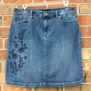 Talbots Petite Woman 8 Blue Jean Skirt Embroidered